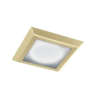 Złoty plafon Aurora Satina - IP44, kwadratowy, 38cm