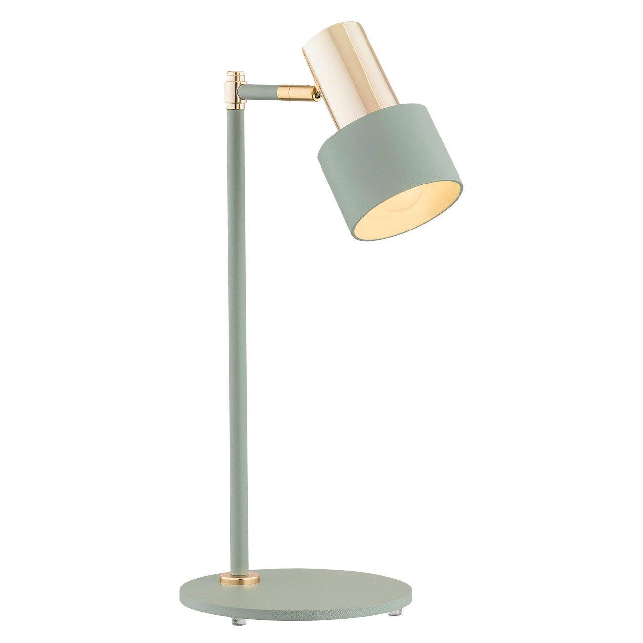 OUTLET Nowoczesna lampa biurkowa Doria  - regulowany klosz, szałwia