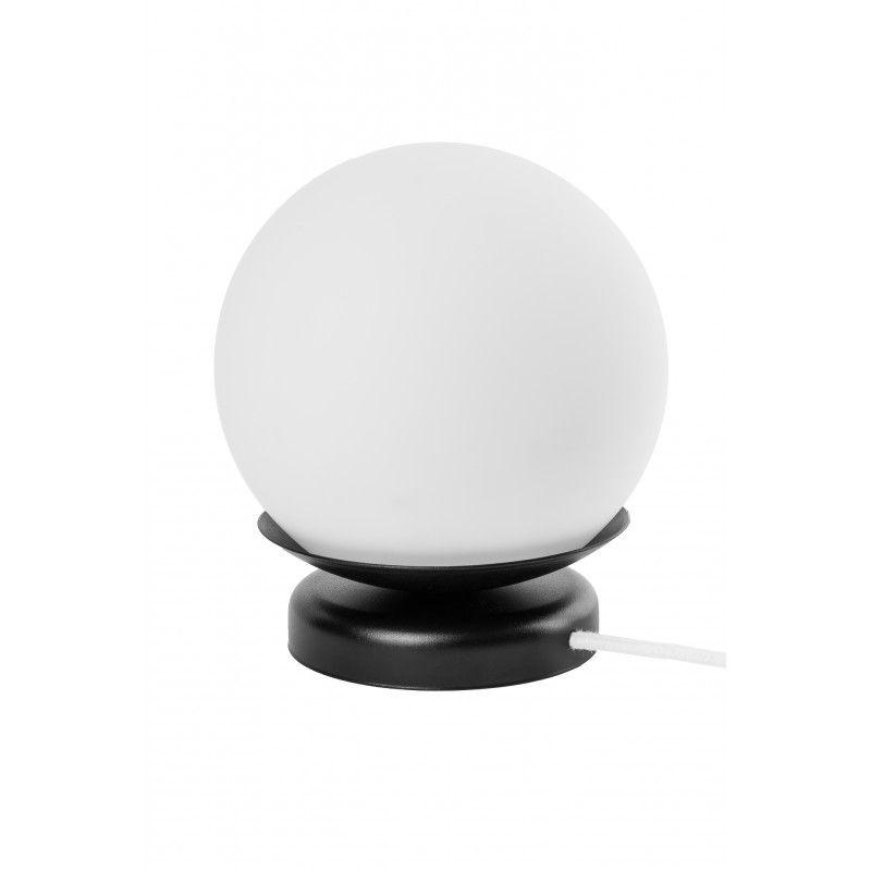 biała lampa stołowa czarna podstawa