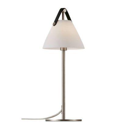 lampa stołowa z czarnym skórzanym paskiem