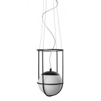 Lampa wisząca Anga B - szklany klosz, czarna oprawa