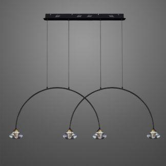 Lampa wisząca Tiffany No.3 - metalowe łuki, 4-punktowa