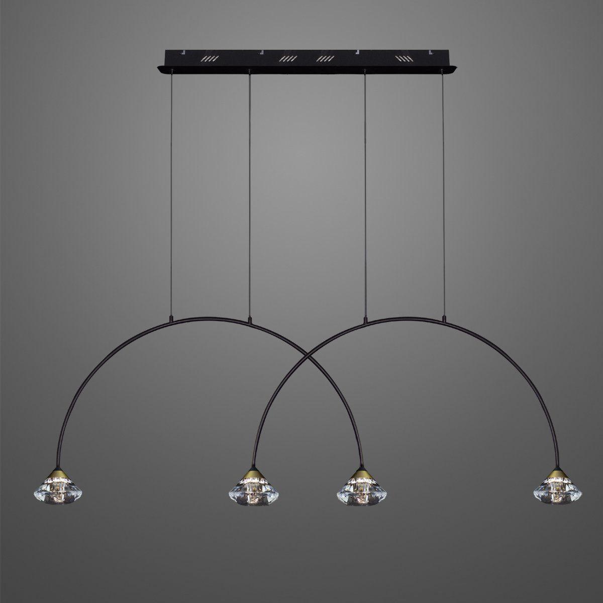 czarna lampa łuki z diamencikami