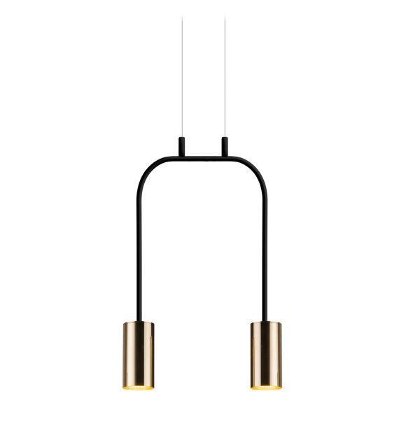 lampa wisząca metalowy łuk czerń i złoto