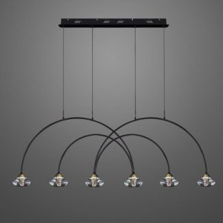 Lampa wisząca Tiffany No.3 CL4 - metalowe łuki, 6-punktowa