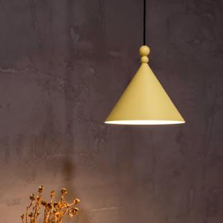 Lampa wisząca Konko - stożkowy klosz, musztardowa