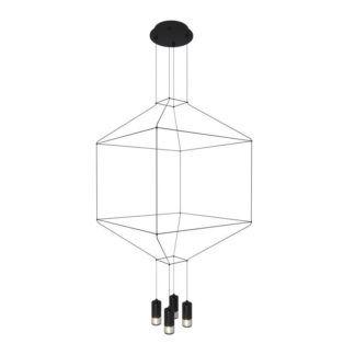 Czarna lampa wisząca Linea - geometryczna, 4-punktowa