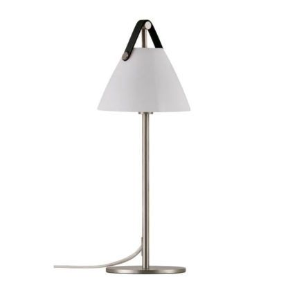 nowoczesna lampa stołowa ze szklanym kloszem