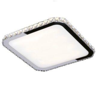 Elegancki plafon Prezzio - srebrny, kryształki