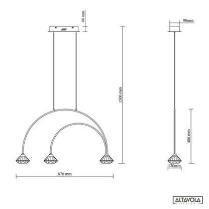 Lampa wisząca Tiffany No.3 CL1- metalowe łuki, 3-punktowa