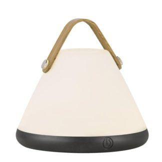 Mobilna lampa stołowa Strap - mleczny klosz, drewniany uchwyt