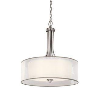 Duża lampa wisząca Lacey - srebrna, cienki abażur