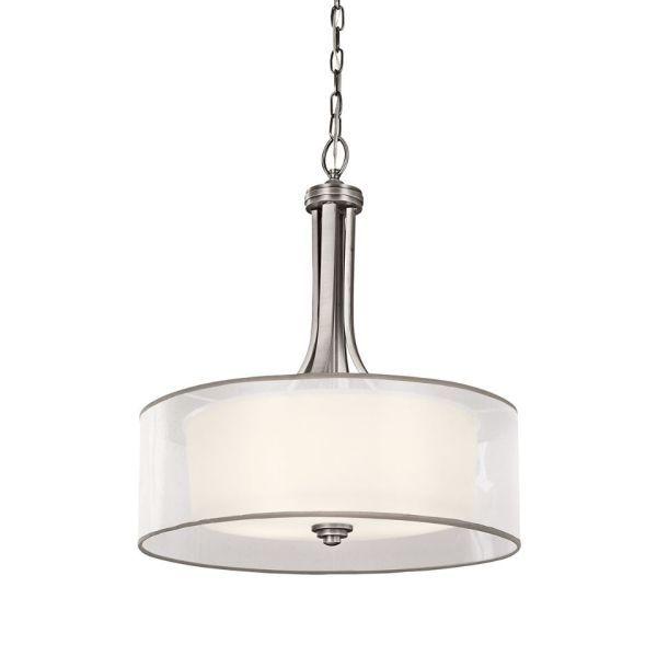 srebrna klasyczna lampa wisząca z abażurem