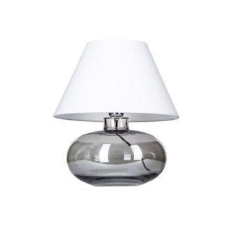 Szklana lampa stołowa Bergen - szara, biały abażur