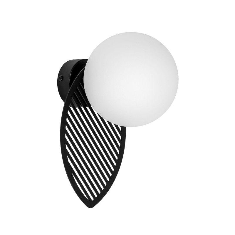 czarny kinkiet z białą kulą nowoczesny