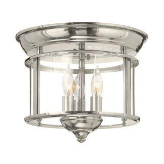 Lampa sufitowa Gentry - szklany klosz, srebrna, połysk