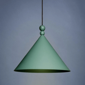Lampa wisząca Konko - stożkowy zielony klosz, 30cm