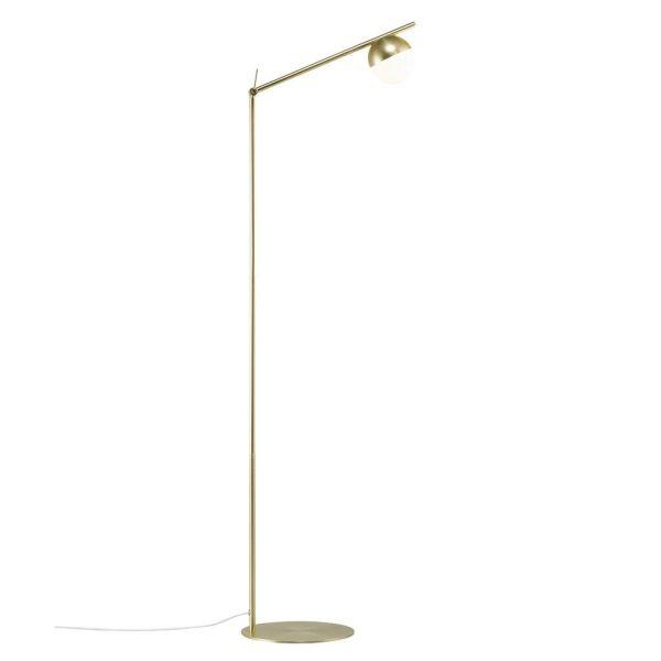 Złota lampa podłogowa Contina - szklany klosz