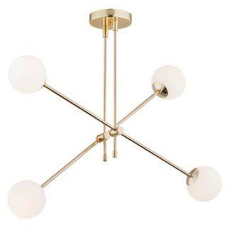 Złota lampa wisząca Abstract - szklane klosze