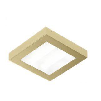 Kwadratowy plafon Aurora Satina - IP44, złoty