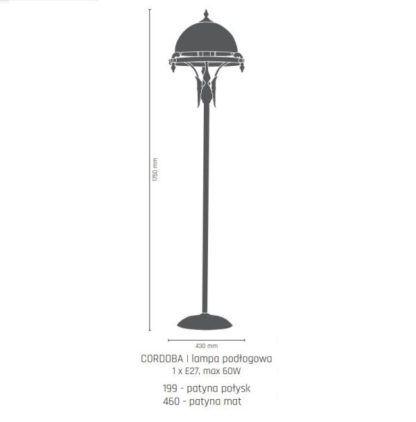 Elegancka lampa podłogowa Cordoba I - mleczny klosz, patyna połysk