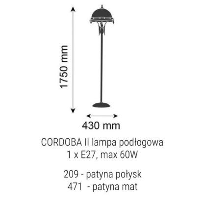 Wysoka lampa podłogowa Cordoba II - prążkowany klosz