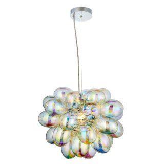 Efektowna lampa wisząca Infinity - tęczowe bańki, szkło