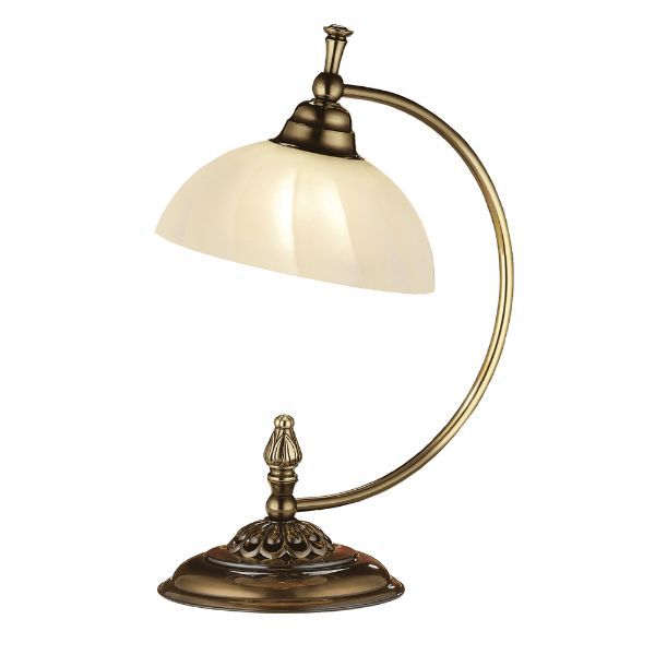 Klasyczna lampa stołowa Cordoba II - mleczny klosz, patyna połysk
