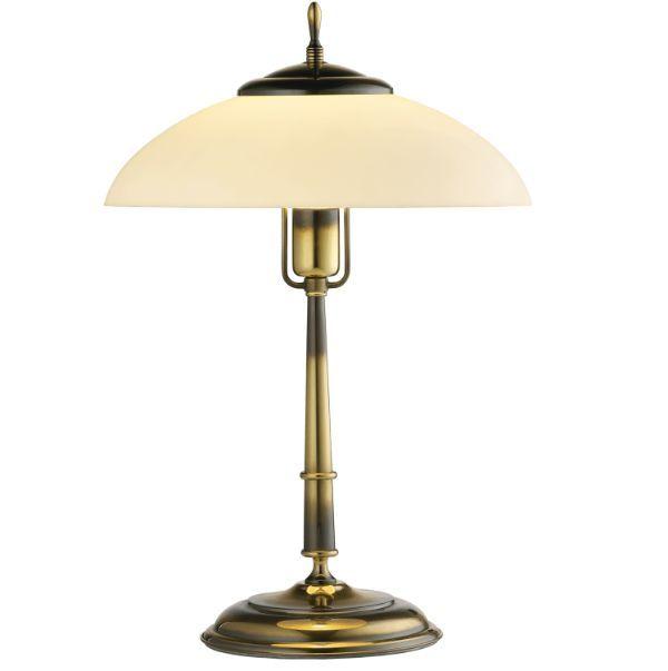 Klasyczna lampa stołowa Onyx - mleczny klosz, patyna