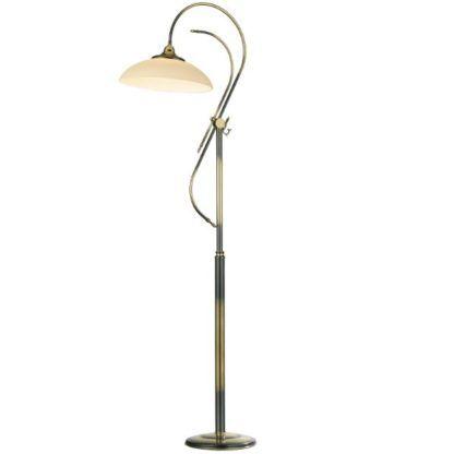 klasyczna lampa podłogowa z mlecznym kloszem