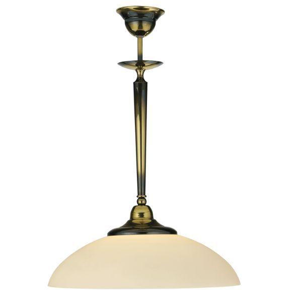 Lampa wisząca Onyx - biały klosz, patyna połysk
