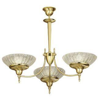 Złoty żyrandol Onyx - 3-ramienny, kryształowe szkło