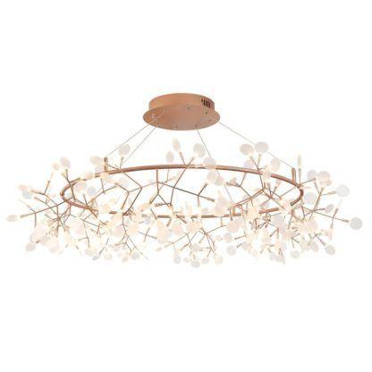 miedziana lampa z gałązkami do salonu