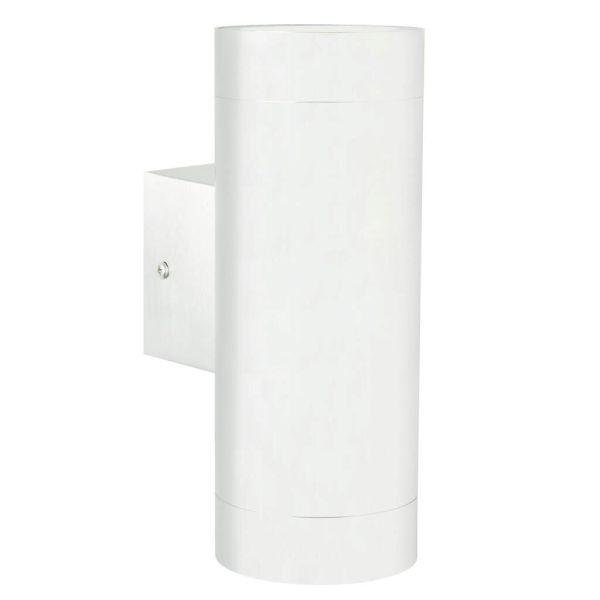 biały kinkiet na ścianie z cegły