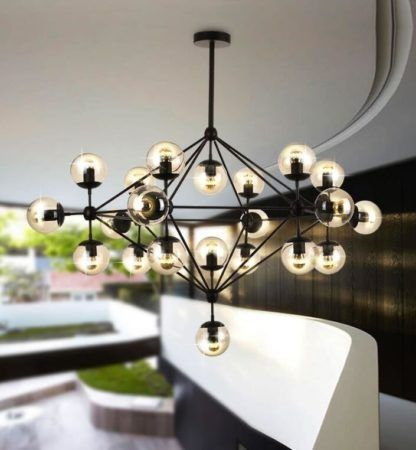 czarna designerska lampa wisząca bursztynowe szkło