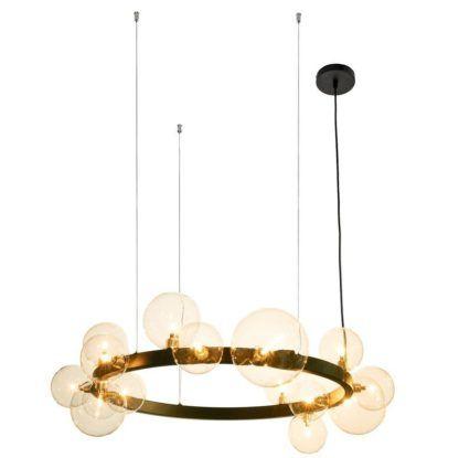 czarna lampa wisząca ze szklanymi kulami