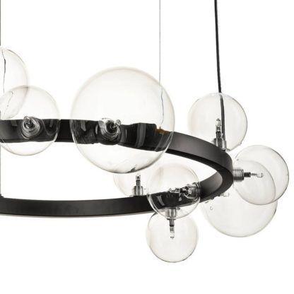 designerski czarny żyrandol szklane klosze