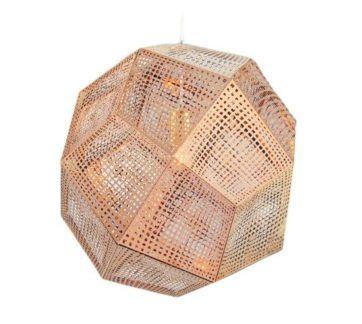 Miedziana lampa wisząca Futuri Star - geometryczny klosz