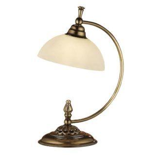 Zaokrąglona lampa stołowa Cordoba I - patyna połysk, mleczne szklo