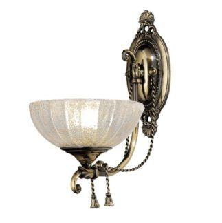 Klasyczny kinkiet Granada - szklany klosz, patyna