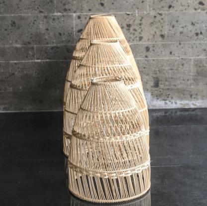 lampa wisząca beżowa z rattanu w stylu scandi -rollo monnarita