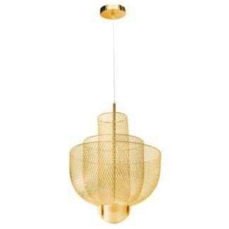 Nowoczesny żyrandol Mesh - złoty, LED