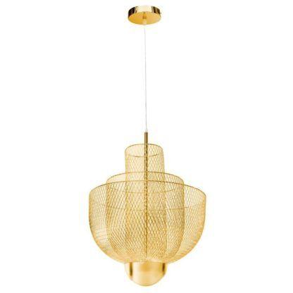 nowoczesny złoty żyrandol ażurowy klosz