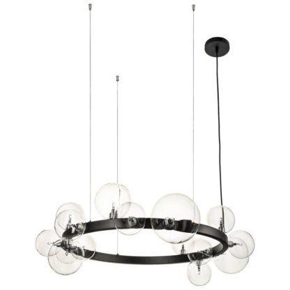okrągły ring ze szklanymi kulami lampa do salonu