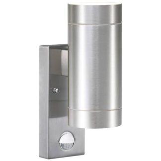 Srebrny kinkiet Tin Maxi - 2-punktowy, czujnik ruchu, IP54