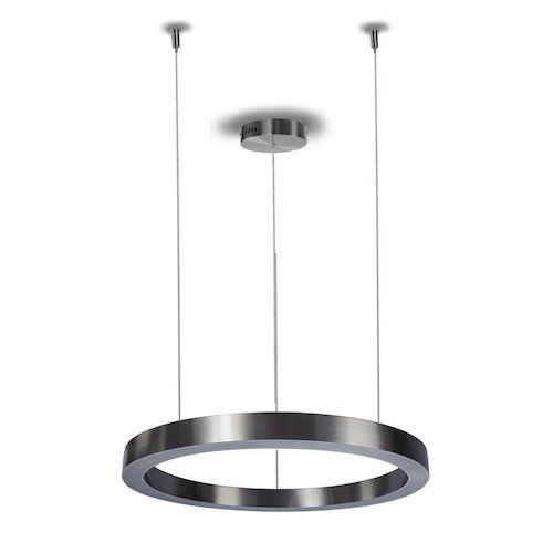 ledowa lampa wisząca ring srebrna