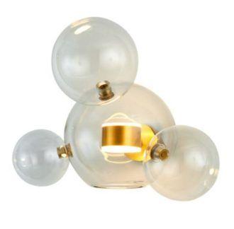 Potrójny kinkiet Bubbles - złoty, szklane klosze