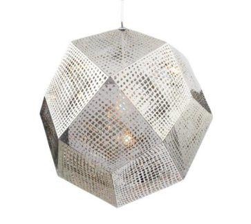 Srebrna lampa wisząca Futuri Star - ażurowy klosz