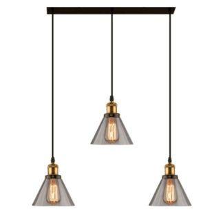 Podłużna lampa wisząca New York Loft No. 1 - szare klosze
