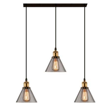 szklana lampa wisząca 3 klosze